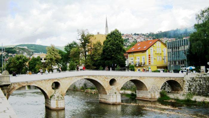 ▲ 제1차 세계대전의 불씨가 점화된 사라예보의 `라틴 다리`.