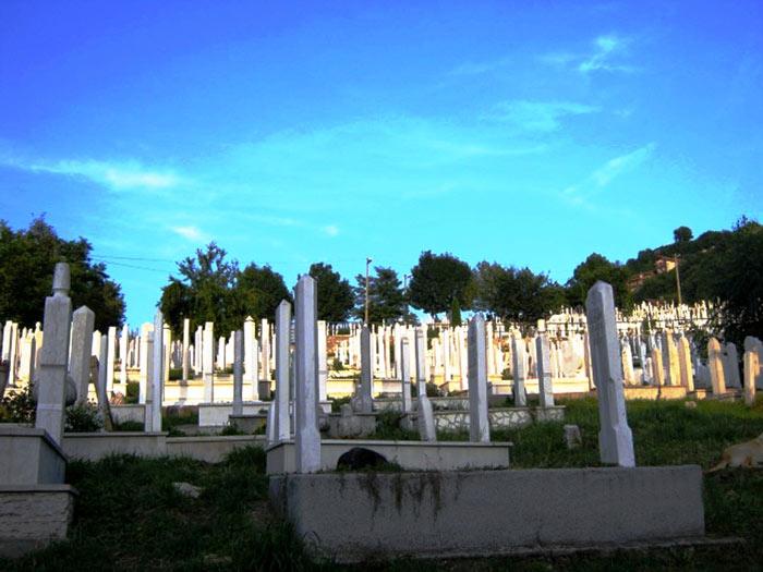 ▲ `보스니아 내전` 때 학살당한 사람들의 묘지. 푸른 하늘 아래 새하얀 비석들이 보인다.