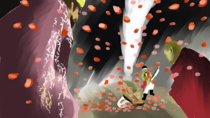 ▲ `삼국유사`에서 일연이 묘사한 이차돈의 순교 장면. 좌측에 법흥왕이 있고, 가운데 죽음을 맞는 이차돈이 보인다. 잘린 목에서는 흰 젖이 솟아오르고 어두워진 하늘에서 꽃비가 쏟아지고 있다. <br /><br />/삽화 이건욱