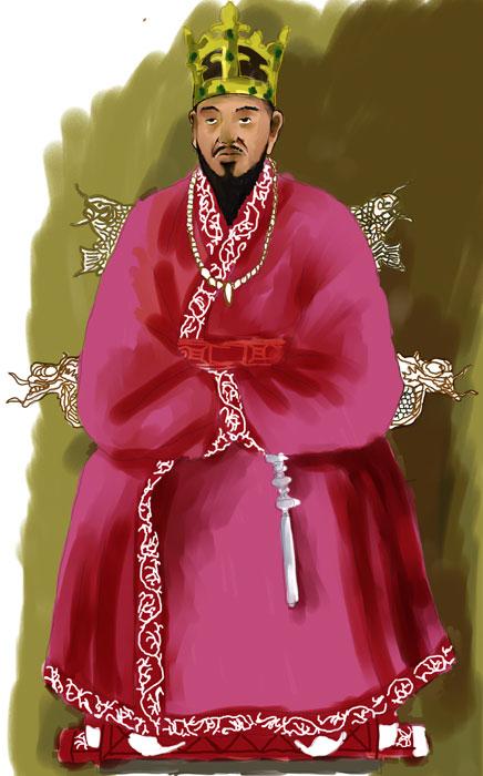 ▲ 법흥왕은 왕권을 강화하고, 신라가 불국토로 가는 길을 열었던 사람으로 평가된다. 자신의 뜻을 이루기 위해 고뇌하고 있는 모습을 작가의 상상력으로 표현했다. <br /><br /><br /><br />/삽화 이건욱
