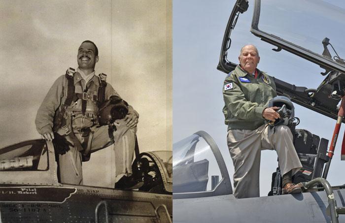 ▲ 미 공군전투조종사 유진 메클링(93) 예비역 대령의 6·25 전쟁 당시 모습(왼쪽)과 지난 5일 모습.
