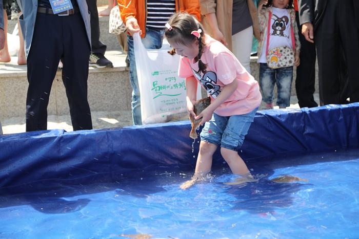 ▲ `물가자미-막회 축제`에서 맨손으로 물가자미를 잡고 있는 아이.