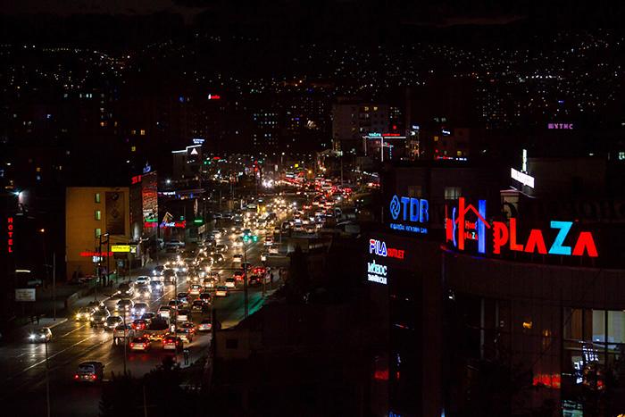 ▲ 어둠의 장막이 내리기 시작한 몽골의 수도 울란바토르.