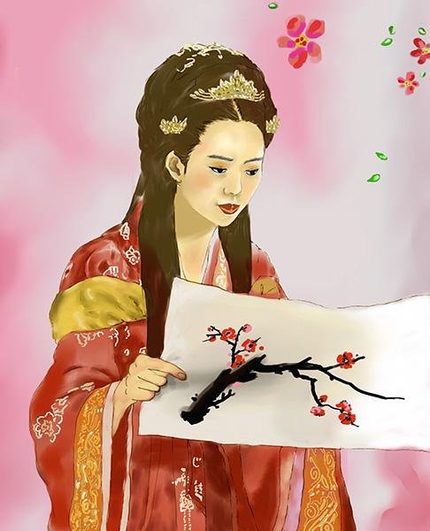 ▲ 눈에 보이는 것만이 아닌 그림 속에 담긴 상징과 은유를 함께 살필 줄 알았던 선덕여왕.  /삽화 이찬욱