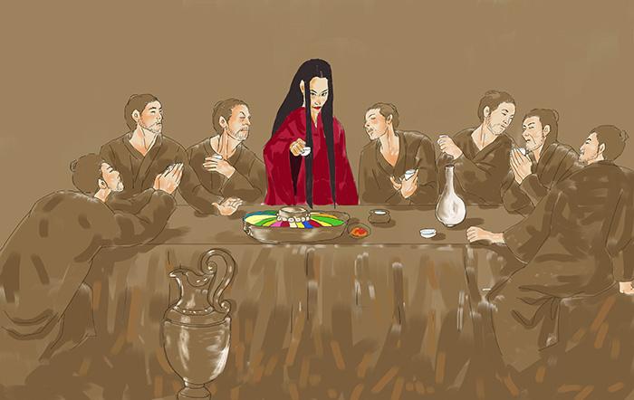 ▲ 많은 사람들이 진성여왕을 남자와 술을 좋아한 '음탕하고 정치 감각 없는 여성'으로 인식하고 있다. 하지만 그게 진성여왕의 모습 전부였을까?  /삽화 이찬욱