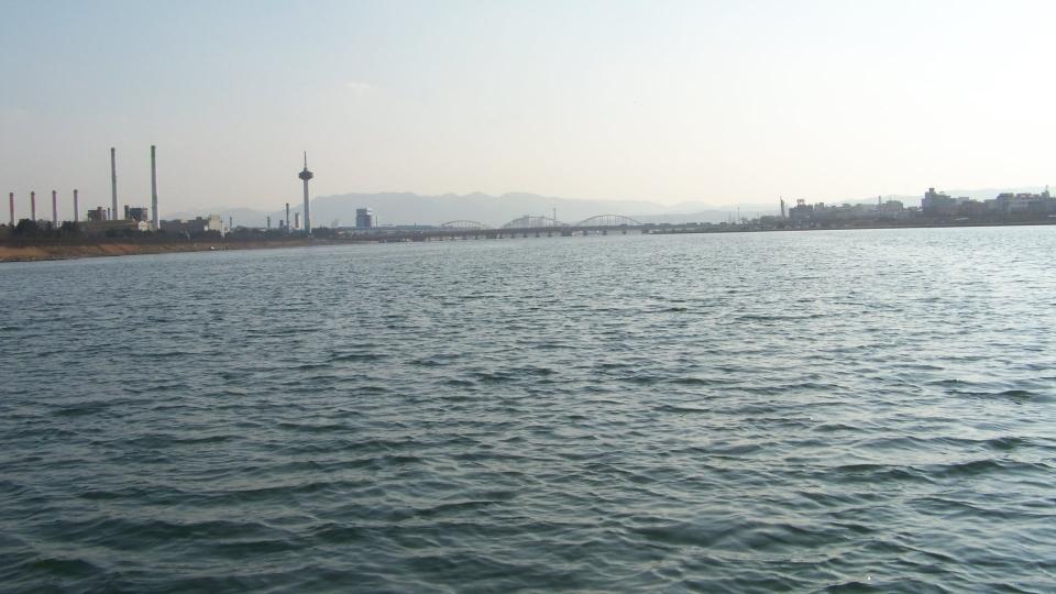 멀리 포항과 구룡포를 잇는 형산강 다리가 보이고 있다.